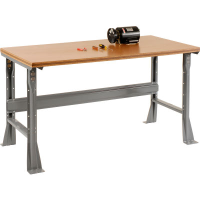 Global Industrial™ 60 x 30 x 34 Fixed Height Workbench Flared Leg - Shop Top Square Edge - Gray