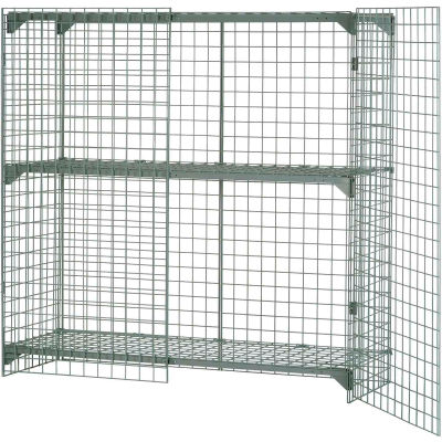 "Global Industrial™ Wire Mesh Security Cage Locker, 60""Wx24""Dx72""H, Gray, Unassembled"