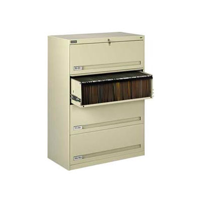 """Deluxe Retracting Front Lateral File Cabinet 36""""W X 52""""H - Putty"""