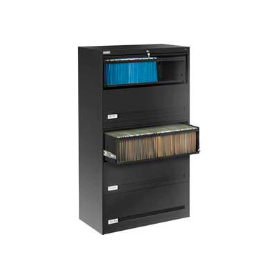 """Deluxe Retracting Front Lateral File Cabinet 36""""W X 65""""H - Black"""