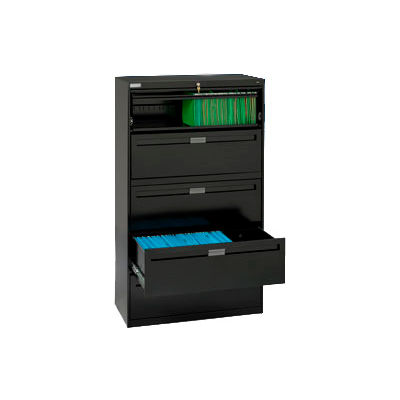 """Deluxe Fixed Front Lateral File Cabinet 36""""W X 65""""H - Black"""