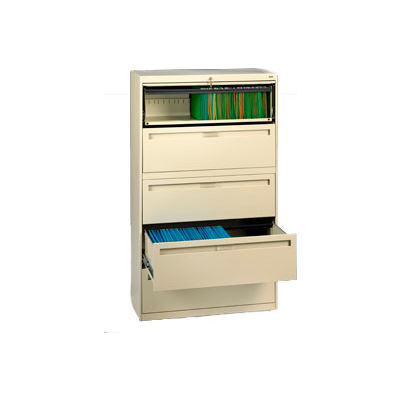 """Deluxe Fixed Front Lateral File Cabinet 36""""W X 65""""H - Putty"""