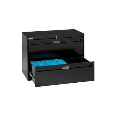 """Deluxe Fixed Front Lateral File Cabinet 42""""W X 28""""H - Black"""