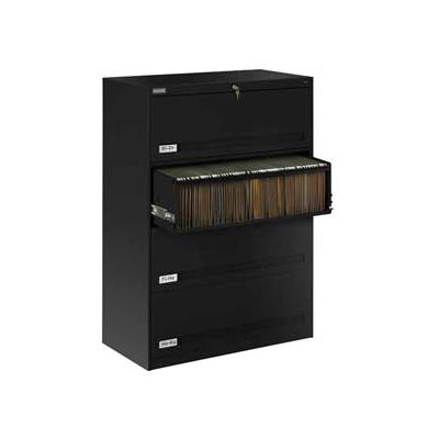 "Deluxe Retracting Front Lateral File Cabinet 42""W X 52""H - Black"
