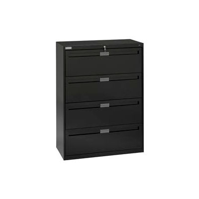 """Deluxe Fixed Front Lateral File Cabinet 42""""W X 52""""H - Black"""