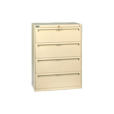"""Deluxe Fixed Front Lateral File Cabinet 42""""W X 52""""H - Putty"""