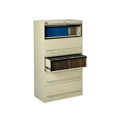 "Deluxe Retracting Front Lateral File Cabinet 42""W X 65""H - Putty"