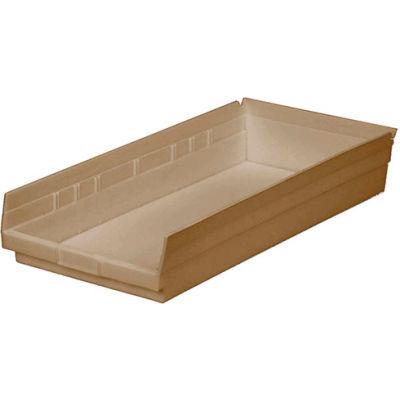 "Global Industrial™ Plastic Nesting Storage Shelf Bin 11-1/8""W x 23-5/8""D x 4""H Beige - Pkg Qty 6"
