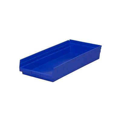 "Global Industrial™ Plastic Nesting Storage Shelf Bin 11-1/8""W x 23-5/8""D x 4""H Blue - Pkg Qty 6"