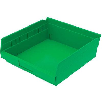"Global Industrial™ Plastic Nesting Storage Shelf Bin 11-1/8""W x 11-5/8""D x 4""H Green - Pkg Qty 12"