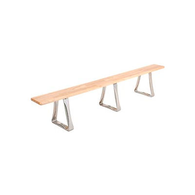 Global Industrial™ Locker Bench Hardwood Top w/SS Trapezoid Pedestals, Bolt Down 96x9-1/2x17