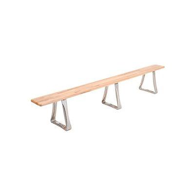 Global Industrial™ Locker Bench Hardwood Top w/SS Trapezoid Pedestal, Bolt Down 108x9-1/2x17