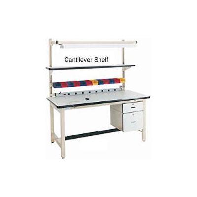 """72""""L x 12""""D Plastic Laminate Cantilever Shelf - Blue for Pro-Line Workbench"""