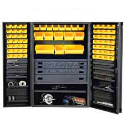 Durham Heavy Duty Work Bin Cabinet JCBDLP694RD Flush Doors - 4 Drawers 69 Yellow Bins 48 x 24 x 78