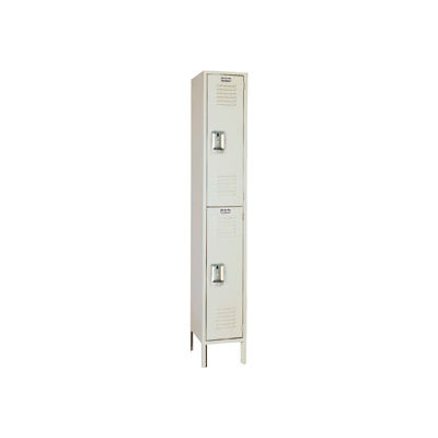 "Lyon Double Tier 2 Door Steel Locker With Recessed Handle, 12""Wx18""Dx36""H, Putty, Assembled"