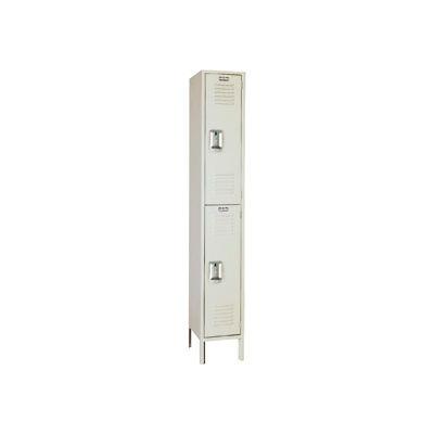 "Lyon Double Tier 2 Door Steel Locker With Recessed Handle, 12""Wx18""Dx36""H, Putty, Assembled"