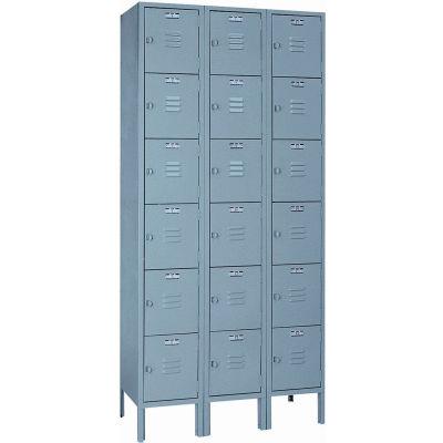 """Lyon Six Tier 18 Door Steel Locker With Hasp Handle, 12""""Wx18""""Dx12""""H, Gray, Assembled"""