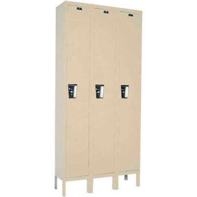Hallowell UY3288-1 Maintenance-Free Quiet Locker Single 12x18x72 - 3 Door Ready To Assemble - Tan
