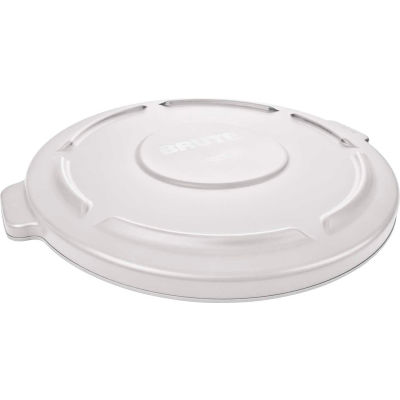 Flat Lid For 32 Gallon Round Trash Container - White