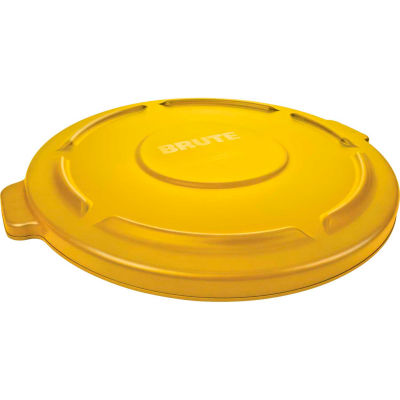 Brute® Flat Lid For 44 Gallon Round Trash Container, Yellow - FG264560YEL