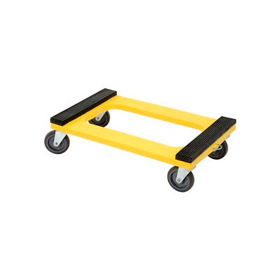 """Global Industrial™ Plastic Dolly with Rubber Padded Deck 5"""" Casters 1200 Lb. Capacity"""