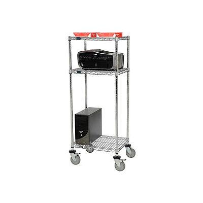 "Nexel™ 3-Shelf Mobile Wire Printer Stand, 24""W x 18""D x 59""H, Chrome"