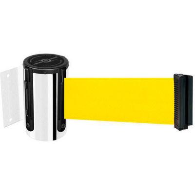 Tensabarrier® Wall Mount Retractable Belt Barrier, Chrome Case W/7-1/2' Yellow Belt