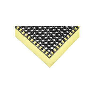 "SafetyTruTred™ Hi-Vis Drainage Mat, 4-Sided Border, 7/8"" Thick, 40""x40"", Black/Yellow"