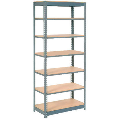 """Global Industrial™ Heavy Duty Shelving 48""""W x 12""""D x 84""""H With 7 Shelves - Wood Deck - Gray"""