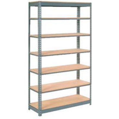"""Global Industrial™ Heavy Duty Shelving 48""""W x 24""""D x 96""""H With 7 Shelves - Wood Deck - Gray"""
