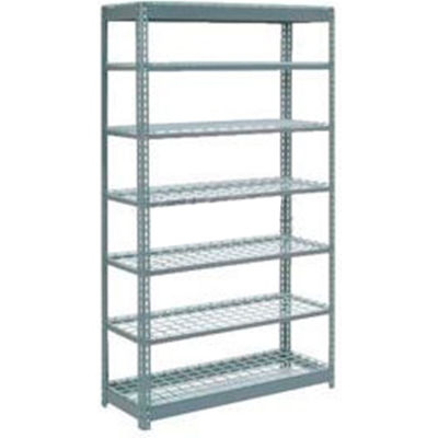 """Global Industrial™ Heavy Duty Shelving 48""""W x 24""""D x 96""""H With 7 Shelves - Wire Deck - Gray"""