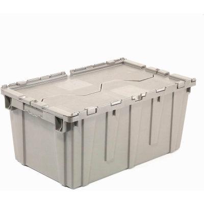 Global Industrial™ Plastic Attached Lid Shipping - Conteneur de stockage 21-7/8x15-1/4x12-7/8 Gris