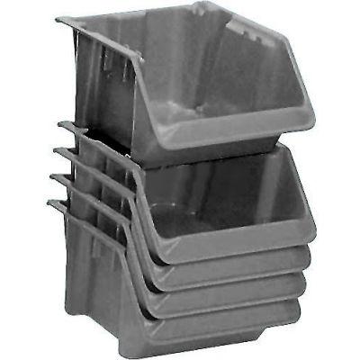 "LEWISBins Fiberglass Stack & Nest Hopper Bin, 11-1/2""W x 18""D x 7-1/2""H, Gray - Pkg Qty 5"