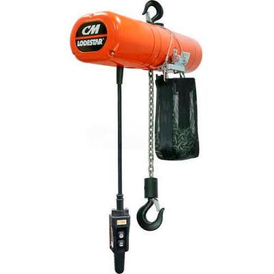 CM Lodestar 1 Ton, Electric Chain Hoist W/ Chain Container, 10' Lift, 16 FPM, 115V