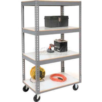 Global Industrial™ Easy Adjust Boltless 4 Shelf Truck 36x24, Laminate Shelves, Poly Casters