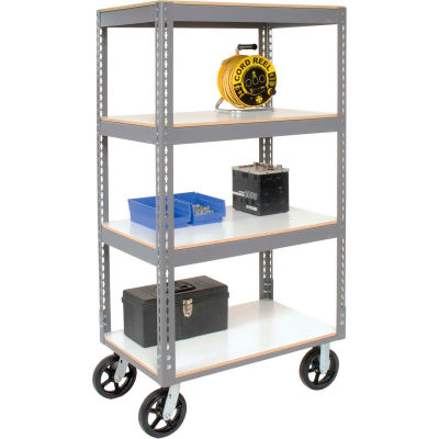 Global Industrial™ Easy Adjust Boltless 4 Shelf Truck 36x24 W/ Laminate Shelves, Rubber Casters