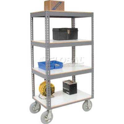 Global Industrial™ Easy Adj. Boltless 4 Shelf Truck 48x24, Laminate Shelves, Pneumatic Casters