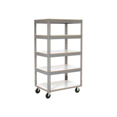 Global Industrial™ Easy Adjust Boltless 5 Shelf Truck 48x24, Laminate Shelves, Poly Casters