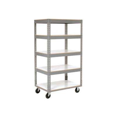 Global Industrial™ Easy Adjust Boltless 5 Shelf Truck 60x24, Laminate Shelves, Poly Casters