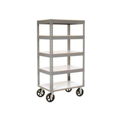 Global Industrial™ Easy Adjust Boltless 5 Shelf Truck 60x24 W/ Laminate Shelves, Rubber Casters