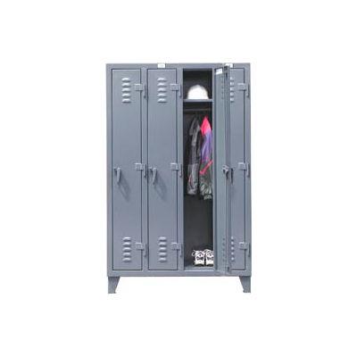 "StrongHold® Single Tier 4 Door Welded Slim-Line Locker, 50""Wx18""Dx72""H, Gray, Assembled"