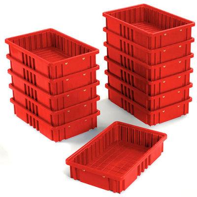 "Global Industrial™ Plastic Dividable Grid Container DG92035,16-1/2""L x 10-7/8""W x 3-1/2""H, Red - Pkg Qty 12"