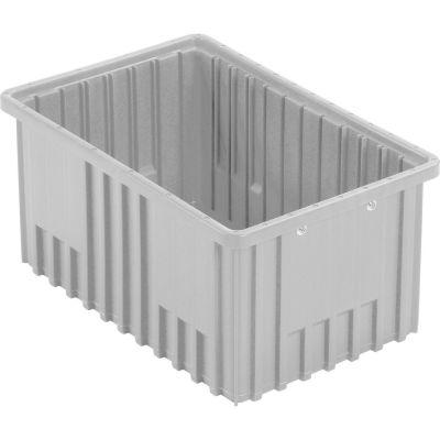 "Global Industrial™ Plastic Dividable Grid Container - DG92080,16-1/2""L x 10-7/8""W x 8""H, Gray - Pkg Qty 8"