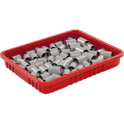 "Global Industrial™ Plastic Dividable Grid Container - DG93030, 22-1/2""L x 17-1/2""W x 3""H, Red - Pkg Qty 6"