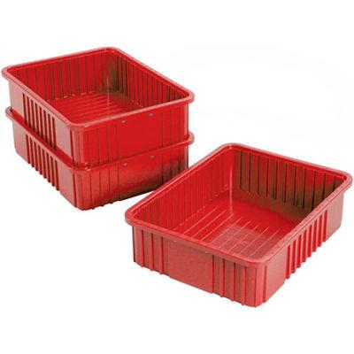 "Global Industrial™ Plastic Dividable Grid Container - DG93060, 22-1/2""L x 17-1/2""W x 6""H, Red - Pkg Qty 3"
