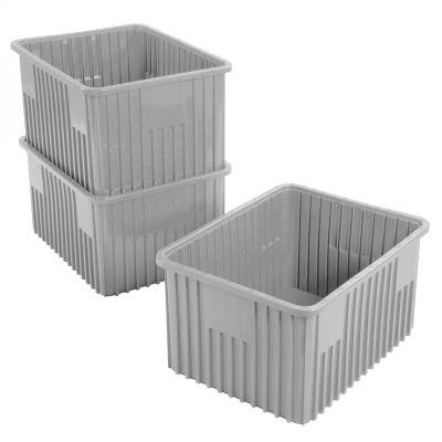 "Global Industrial™ Plastic Dividable Grid Container - DG93120, 22-1/2""L x 17-1/2""W x 12""H, Gray - Pkg Qty 3"