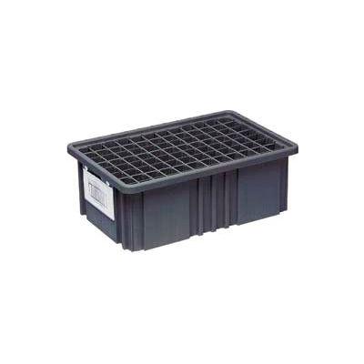 """Quantum Conductive Dividable Grid Container - DG91050CO, 10-7/8""""L x 8-1/4""""W x 5""""H, Black - Pkg Qty 20"""