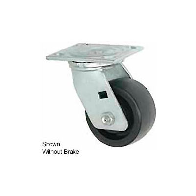 """Faultless Swivel Plate Caster 1465W-6RB 6"""" Thermoplastic Wheel with Brake"""