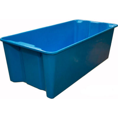 """Molded Fiberglass Nest and Stack Tote 780008 with Wire - 42-1/2"""" x 20"""" x 14-1/4"""", Blue"""