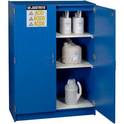 "Justrite 49 x 2-1/2 Liter Bottle Cap., Wood Laminate Storage Acid Cabinet, 42""Wx17-7/8""Dx60""H, Blue"